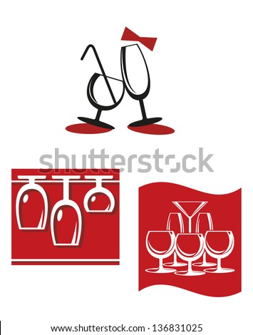 Alcohol glasses symbols and signs for bar menu design, also for logo template design. Jpeg (bitmap) version also available in gallery - stock vector