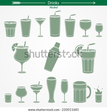 Alcohol Icon Set. Silhouettes. Pictogram Style - stock vector