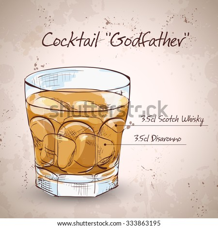Alcoholic Cocktail Godfather with Scotch whiskey and liqueur Amaretto - stock vector