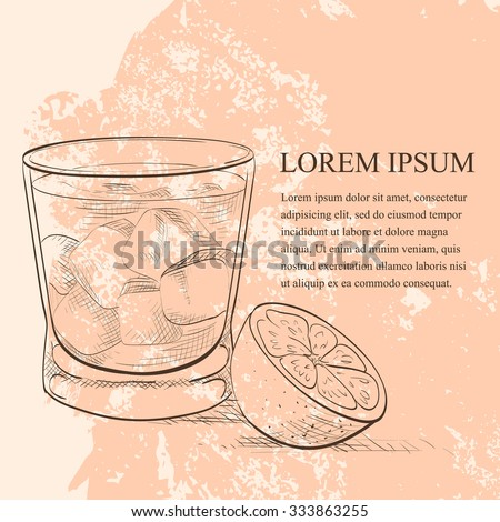 Alcoholic Cocktail Godmother scetch with Vodka and liqueur Amaretto - stock vector