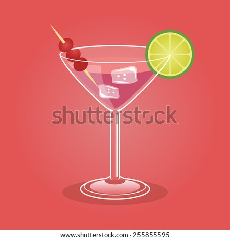 Alcoholic cocktail. Vector illustration