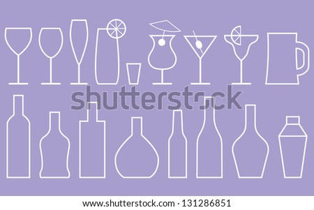 Alcoholic drinks background - stock vector