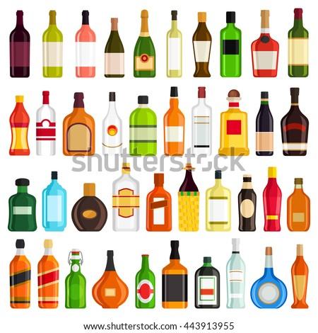 Alcoholic Drinks Bottles Large Vector Set - stock vector