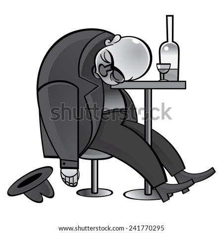 Alcoholic - drunk man asleep on the table - stock vector