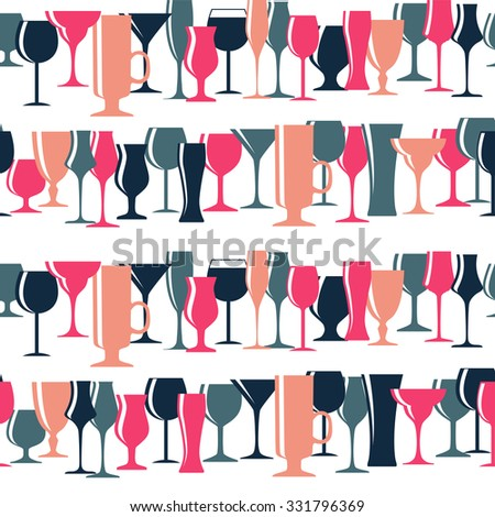 Alcoholic Glass Silhouette Seamless Pattern Background Vector Illustration EPS10 - stock vector