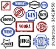 Alcoholic stamps, isolated vector objects on white background - stock vector