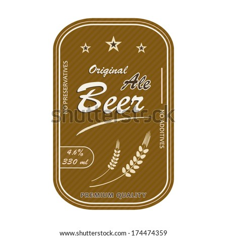 Ale beer label gold style rectangle design premium quality message concept illustration - stock vector