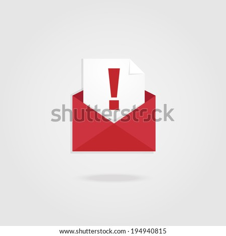 Alert Mail icon. - stock vector