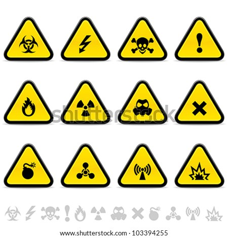 Alert triangles - stock vector