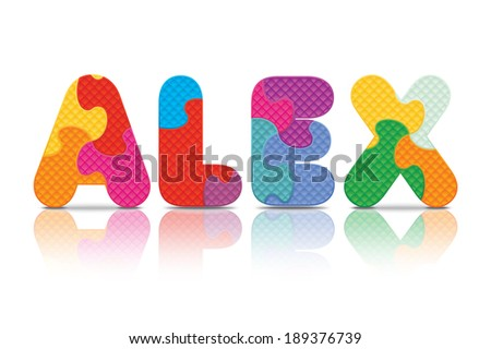 ALEX written with alphabet puzzle - vector illustration