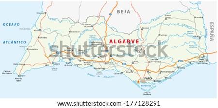 algarve road map - stock vector