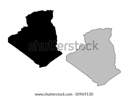 Algeria map. Black and white. Mercator projection. - stock vector
