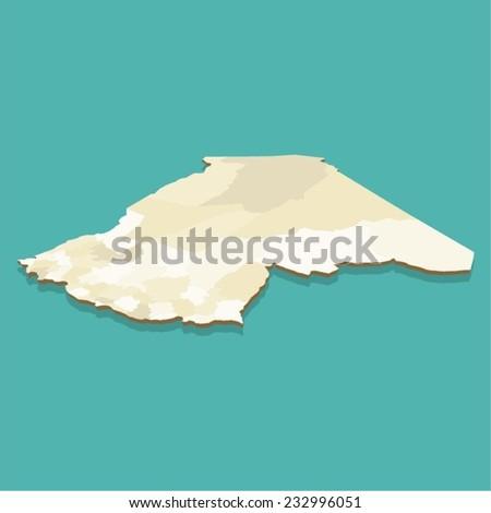 Algeria Map Three Dimensional Vector - stock vector