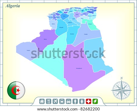 Algeria Map with Flag Buttons and Assistance & Activates Icons Original Illustration - stock vector