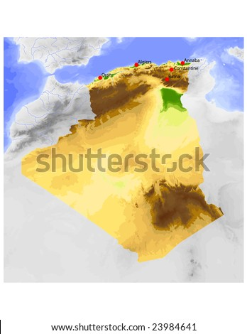 Algeria. Physical vector map, colored according to elevation, with rivers and selected cities. Surrounding territory greyed out. 60 named layers, fully editable. Data source: NASA - stock vector