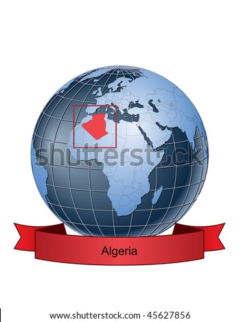 Algeria, position on the globe Vector version with separate layers for globe, grid, land, borders, state, frame; fully editable - stock vector