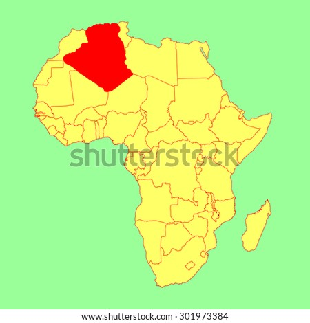 Algeria Vector Map Isolated On Africa Stock Vector HD Royalty Free