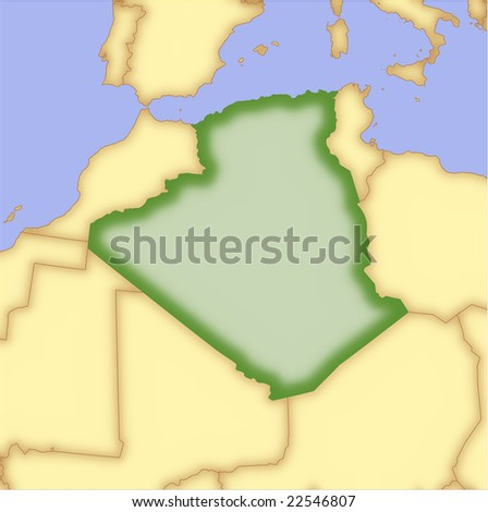 Algeria, vector map, with borders of surrounding countries. 5 named layers, fully editable. - stock vector