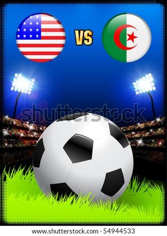 Algeria versus United States on Soccer Stadium Event Background Original Illustration - stock vector