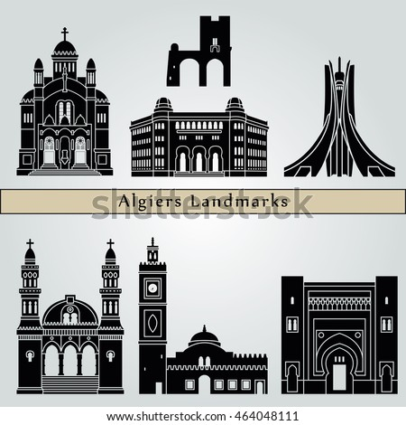 Algiers landmarks and monuments isolated on blue background in editable vector file