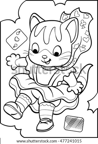 Alice - a kitten. Alice in Wonderland. Coloring. Vector illustration isolated on white background.