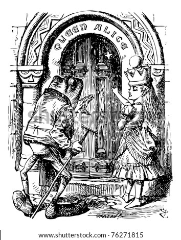 Alice and the Frog at the Door - Through the Looking Glass and what Alice Found There original book engraving. The Frog looked at the door with his large dull eyes for a minute... - stock vector