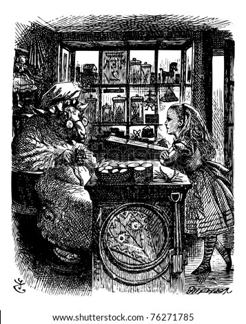 Alice and the Knitting Sheep - Through the Looking Glass and what Alice Found There original book engraving. Alice talking to a sheep on the other side of the counter. - stock vector