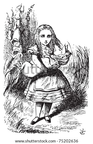 Alice and the pig baby - Alice's Adventures in Wonderland original vintage engraving.This time there could be no mistake about it: it was neither more nor less than a pig... - stock vector