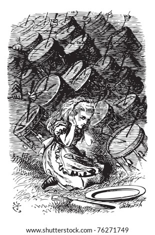 Alice Being Drummed Out of Town - Through the Looking Glass original book engraving. Where the noise came from she couldn't make out: the air seemed full of it, and it rang through. - stock vector