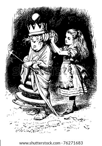 Alice gets the White Queen's Hair in Order - Through the Looking Glass and what Alice Found There original book engraving - stock vector