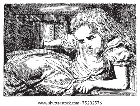 Alice grows huge (or tall) again. ...before she had drunk half the bottle, she found her head pressing against the ceiling, and had to stoop to save her neck from being broken. Alice in Wonderland. - stock vector