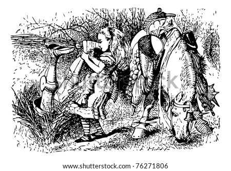 """Alice Helps the White Knight - Original book engraving.  """"How can you go on talking so quietly, head downwards?"""" Alice asked, as she dragged him out by the feet, and laid him in a heap on the bank. - stock vector"""