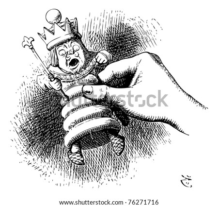 Alice holds the White King - original book engraving. Alice watched the White King as he slowly struggled up from bar to bar, till at last she said, Why, you'll be hours and hours getting to the table - stock vector