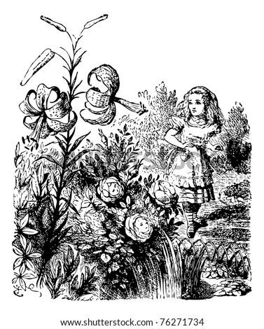 Alice in the Garden of Live Flowers - Through the Looking Glass original book engraving. Alice is standing in the garden where she is astonished to notice that the flowers (which have faces) can talk. - stock vector