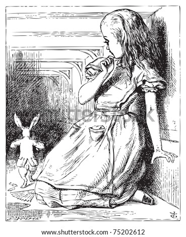 Alice in Wonderland. Alice grown big looking at the White Rabbit returning, splendidly dressed. Alice's Adventures in Wonderland. Illustration from John Tenniel, published in 1865. - stock vector