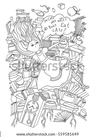 Alice in wonderland rabbit hole stock images royalty free for Black hole coloring page