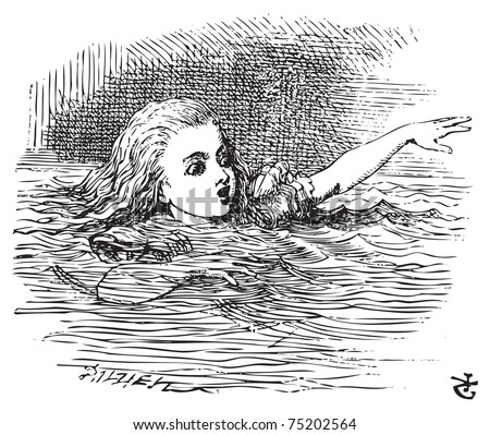 Alice in Wonderland. Alice Swimming in her pool of giant tears, up to her chin in salt water. Alice's Adventures in Wonderland. Illustration from John Tenniel, published in 1865. - stock vector