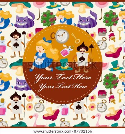 Alice in Wonderland card - stock vector