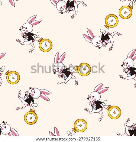 alice in wonderland , cartoon seamless pattern background - stock vector
