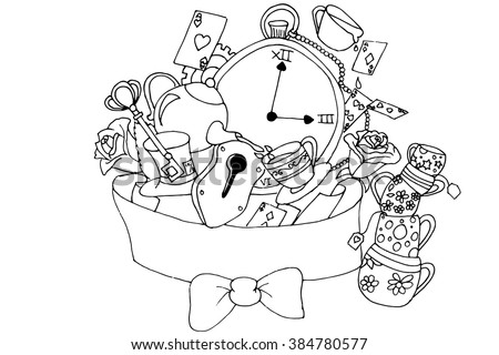Alice Wonderland Inspired Sketch Vector de stock384780577: Shutterstock