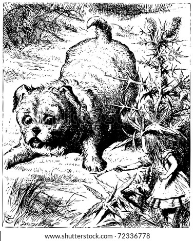 Alice in Wonderland old engraving. Alice showing a stick to an enormous puppy or dog: Alice's Adventures in Wonderland. Illustration from John Tenniel, published in 1865. - stock vector