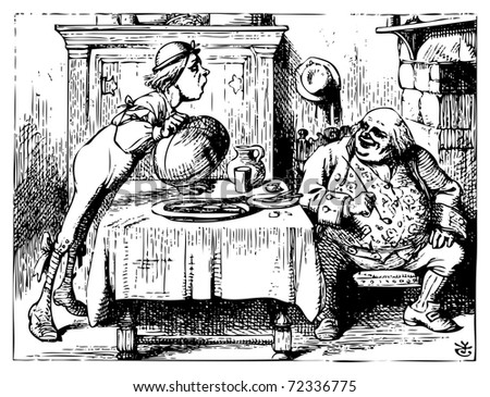 Alice in Wonderland old engraving. Father William eating in his house.: Alice's Adventures in Wonderland. Illustration from John Tenniel, published in 1865. - stock vector