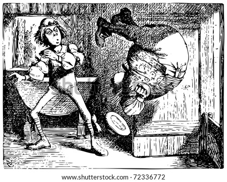 Alice in Wonderland old engraving. Father William jumping or doing a summersault: Alice's Adventures in Wonderland. Illustration from John Tenniel, published in 1865. - stock vector