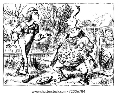 Alice in Wonderland old illustration engraving. Father William balancing eel on his nose: Alice's Adventures in Wonderland. Illustration from John Tenniel, published in 1865. - stock vector