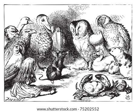 Alice in Wonderland. The mouse tells Alice a story. The mouse is telling a story to the crowd of animals.Alice's Adventures in Wonderland. Illustration from John Tenniel, published in 1865. - stock vector