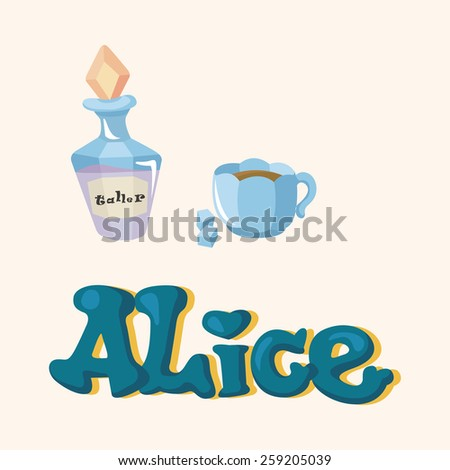 alice in wonderland theme elements - stock vector