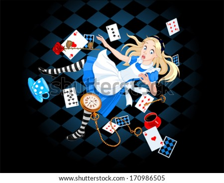 Alice is falling down into the rabbit hole - stock vector