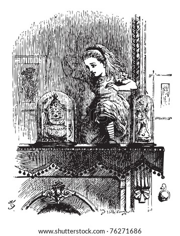 Alice pushes through the mirror - Through the Looking Glass original book vintage engraving. In another moment Alice was through the glass, and had jumped lightly down into the Looking-glass room.
