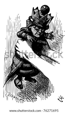 """Alice Shakes the Red Queen - Through the Looking Glass and what Alice Found There original book engraving. As for you,"""", catching hold of the little creature in the very act of jumping over a bottle. - stock vector"""