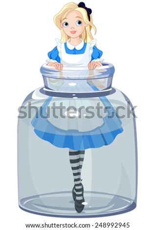 Alice stands in a transparent jar - stock vector